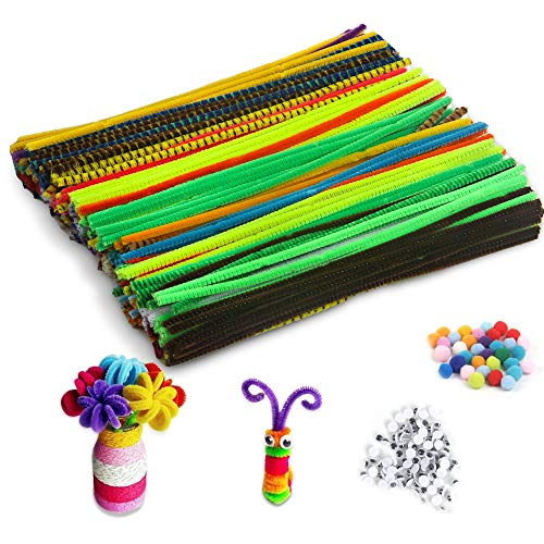 Pipe Cleaners,36 Colors DIY Chenille Stems Art Crafts Set Decorations Supplies Fuzzy Sticks Projects for Kids Adults (360pcs+250Pompoms+Eyes)