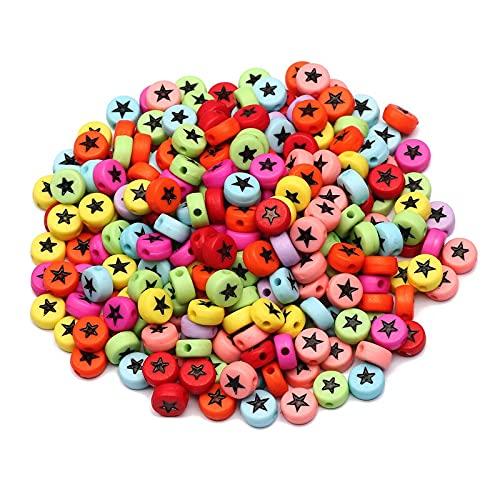 BOSAIYA SL 4 * 7mm Color Mixto Estrella de acrílico acrílico Alfabeto Plano Redondo Perlas Espaciador Sueltas para joyería de Bricolaje Haciendo Suministros de Pulsera Hecha a Mano T825
