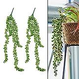 2 Stück Künstliche Grün Pflanzen Hängepflanze Sukkulenten mit Real Touch Aloe Vera Sukkulente Plug Pflanzen, für Innen Äußer Hausgarten Dekoration Hochzeitsgirlande (54 cm)