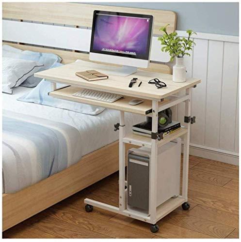 GCE tavolino portacomputer Pieghevole Tavolino Mobile con Ruote chiudibile a Chiave e tavolino Regolabile per cameretta Ufficio-Colore Legno