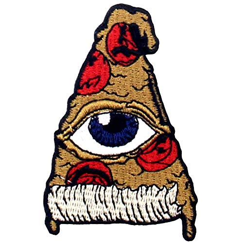 All Seeing Eye On Pizza Patch Embroidered Applique Iron On Sew On Emblem