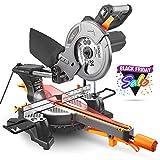 TACKLIFE 1500W 4500tr/min Scie à onglet, Scie à onglet coulissante avec lame 24T 210mm, angle de coupe 0-45 °, Performances puissantes de 45 ° / -45 °