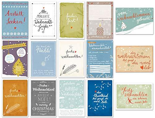 Eine der Guten 15 Weihnachtskarten - Set mit 15 originellen Motiven, A6 Postkarten aus Recyclingpapier, bunt fein lustig edel, Rückseite mit Adressfeld für Weihnachtsgrüße, Grußkarten Weihnachten