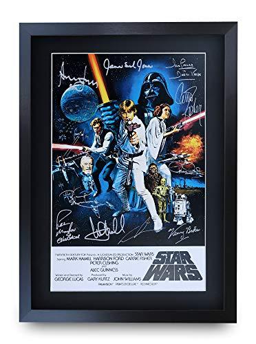 HWC Trading - Poster del film FR Star Wars, formato A3, incorniciato, con autografo stampato di Mark Hamill Harrison, Ford Carrie Fisher, Alec Guinness George Lucas Gifts
