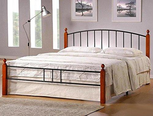 PEGANE Lit Design en Metal, Pieds de lit en Bois malaisiens Marron, 160 x 200 cm