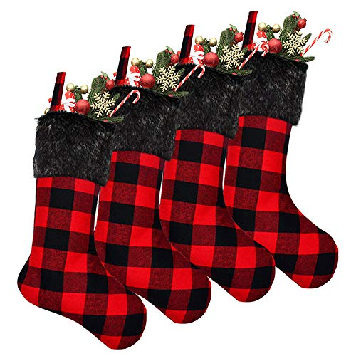 Yodofol 4 Pack Pet Dog Christmas Stockings Classic Buffalo Red and Black Plaid with Plush Cuff Dog Christmas Stocking for Dogs Christmas Decorations (Red and Black)