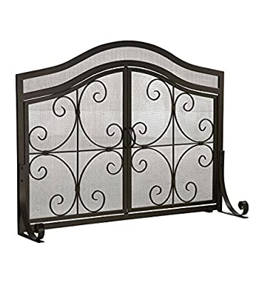 Plow & Hearth Large Crest Fireplace Screen with Doors - Solid Wrought Iron Frame with Metal Mesh - Free Standing Spark Guard - Overall 44 W x 33 H x 13 D - Black Finish from Plow & Hearth
