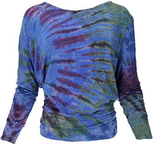 Guru-Shop Batik Hippie Shirt, Damen, Blau, Synthetisch, Size:38, Pullover, Longsleeves & Sweatshirts Alternative Bekleidung