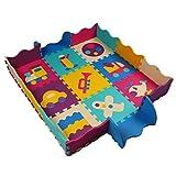 Trimming Shop 9pcs Puzzle Alfombra Juegos No Es Tóxico, Extra Grueso, Plegable Valla Borde, Espuma Azulejos para Gateador, Actividades, 12 Inches - Design-2
