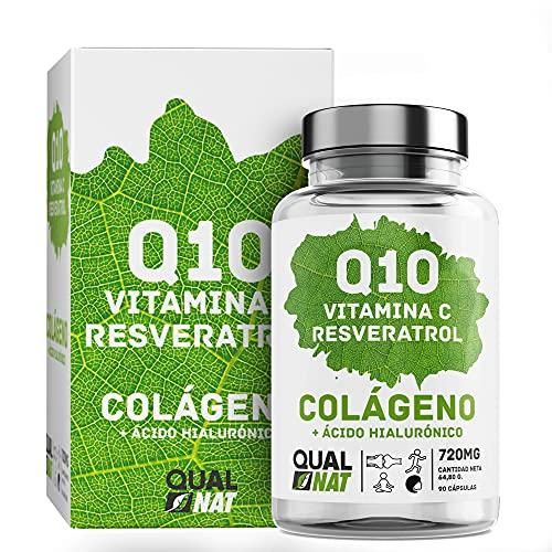 Colágeno marino hidrolizado 90 Cápsulas| Coencima Q10, Vitamina C,Resveratrol | Colágeno Marino Para una Piel Radiante y Buen Funcionamiento de Huesos y Articulaciones| QUALNAT
