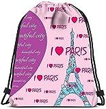 Hdadwy Bolsos con cordón Mochila Moda Corazones Ciudad I Love Paris Viajes Bolsos de Gimnasia Mochila Mochila Bolsa de Hilo