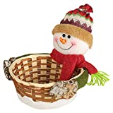 Iusun Merry Christmas Candy Basket Decoration Santa Claus Snowman Dear Bamboo Storage Basket for Chocolates Candies Biscuits Home Decor Supplies Gift (B)