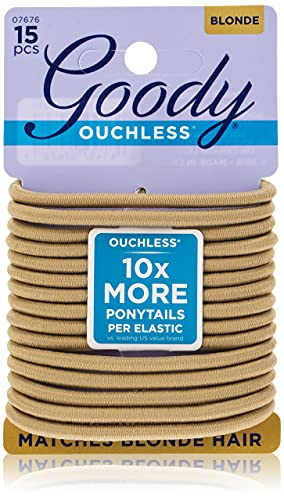 Goody Ouchless Braided Elastics, 4 mm, Blonde, 15 Count