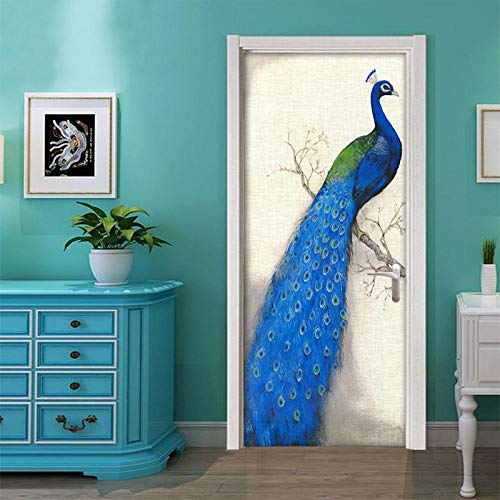 Deurfolie 3D Deurfolie Home Decor Deur Sticker Blauwe Pauw Art Stickers Zelfklevende Vogel Decals Pvc Behang Slaapkamer Entree Decor Muurschilderingen-As_Shown_90X200Cm