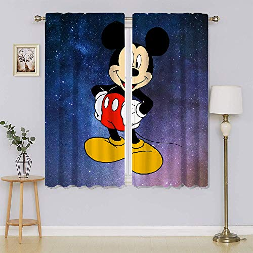 Mickey-Mouse Cortinas opacas con bolsillo para barra, cortinas de bloqueo de calor y luz completa, para mantener el calor y cortinas calientes para ventanas Set para dormitorio de 163 x 1177 cm