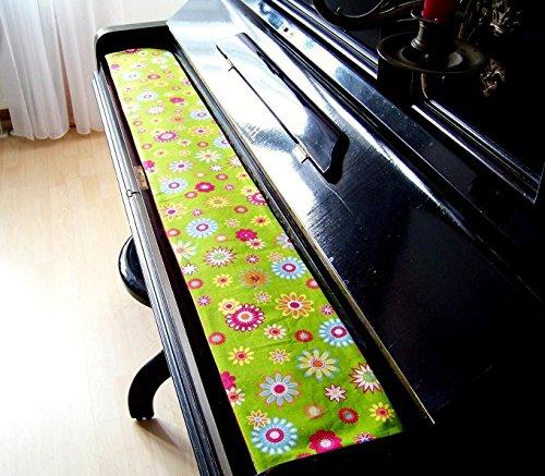 Tastenläufer für Klavier, Tastatur Happy Flower grün