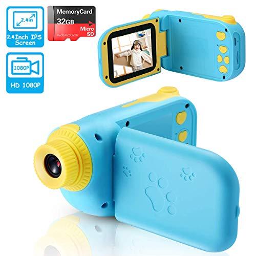 vatenick Kinder Digitalkamera Spielzeug Kleinkind Kamera 2.4 Inch Bildschirm 1080P Fotografie stoßfeste Kamera mit 32 GB TF-Karte Geschenke Spielzeug für 3 bis 12 Jahre alte Jungen und Mädchen
