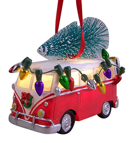 Old Style Van with Tree on Top Light up Christmas Ornament
