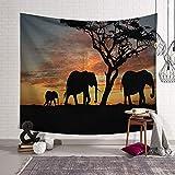 PatTheHook Tapiz De Pared, Tapiz De Animales para Colgar En La Pared Caminar Elefantes Africanos, Tejido Rectangular Grande Decoración Artística De Salón Dormitorio,200×150Cm.