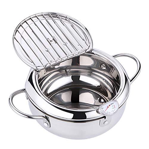TOPCL Nonstick Frituurpan, Tempura Fryer met Thermometer Deksel, RVS Koekenpan voor Keuken