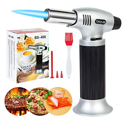 Butane Torch Blow Torch, Ouddy Torch Lighters Adjustable Flame, Safety Lock for Baking for Creme Brulee, Baking, Desserts and Searing- Butane Torch Lighter (Butane Gas Not Included)