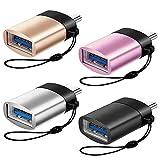 Afunta 4 Stück Typ C auf USB 3.0 Adapter mit Schlüsselanhänger, kompatibel mit Samsung Galaxy S9/S8/Note 9/8, Sony Xperia und Smartphone – Gold, Silber, Schwarz, Pink