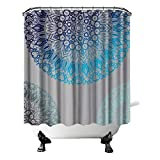 Mandala Duschvorhang Indigo Pfau Blau Blaugrün Schwarz Schatten Muster Badezimmer Vorhang exotischen Stil Unisex Stoff Vorhang für Home Decor mit Haken 182,9 x 182,9 cm Grau