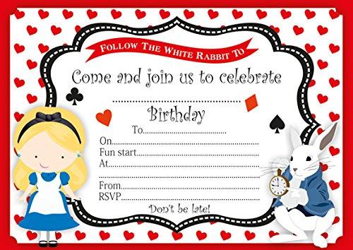 10 x Alice au pays des merveilles Invitations d'anniversaire enfant