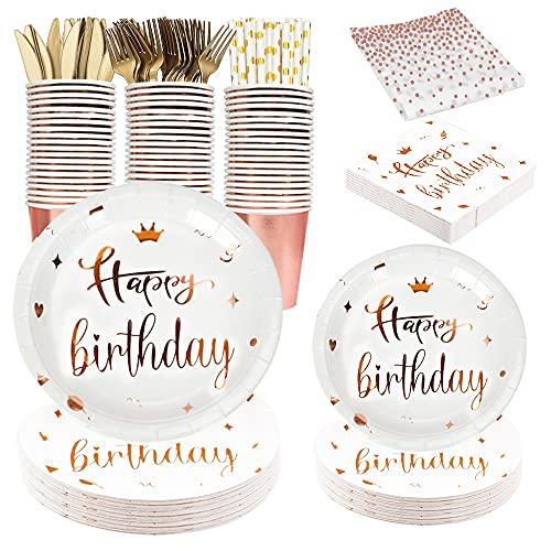 Reutilizable Vajilla para fiesta de cumpleaños de oro rosa que incluye platos y servilletas de feliz cumpleaños, mantel,tenedores y cuchillos, vajilla de fiesta para niños y adultos