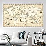 Cuadro en lienzo antiguo Vintage de gran tamaño mapas del mundo carteles abstractos e impresiones cuadros artísticos de pared para sala de estar Cuadros decoración del hogar 50x100 CM (sin marco)