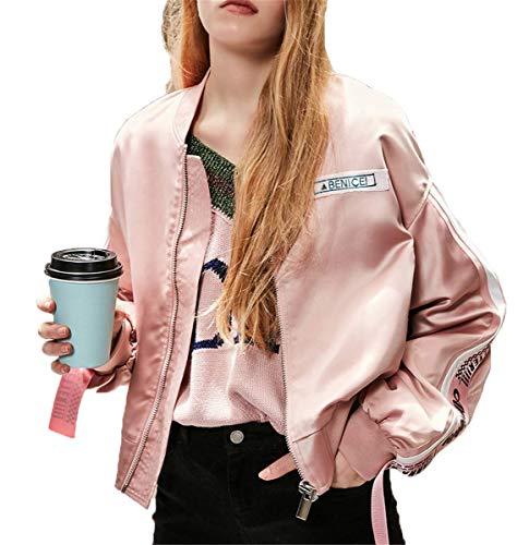 IWFREE Damen Bomberjacke Bomber Jacke Piloten Bedruckte Baseball Mantel Outwear Cardigan Coat Kurz Lose Jacke mit Stehkragen Reißverschluss...