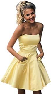 Jonlyc Strapless Short Homecoming Dresses with Pockets Graduation Party Dresses