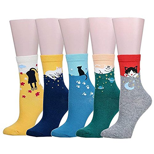 Bakicey Damen Mädchen Socken Stricken Socken Strümpfe Baumwolle Nette Cartoon Gemustert Mädchensocken - Elastisch Sport Socken Füßlinge Kurzsocken Damensocken, 5 Paar. (Lässige Katzen)