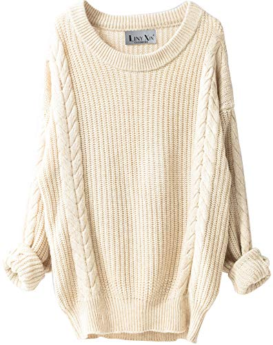 Liny Xin Women's Cashmere Oversized Loose Knitted Crew Neck Long Sleeve Winter Warm Wool Pullover Long Sweater Dresses Tops (Beige)