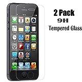 [2-Pack]  Protetor de tela iBaebe iPhone 5S / SE / 5C / 5, Protetor de tela de filme iPhone se para Apple iPhone SE, 5, 5S, 5C Protetor de tela de vidro temperado Premium