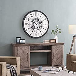 FirsTime & Co. Galvanized Montevello Farmhouse Gears Clock, American Crafted, Satin Black, 36 x 2 x 36
