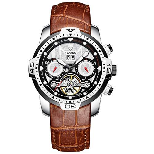 Relojes automáticos, relojes mecánicos, relojes mecánicos automáticos de acero inoxidable para hombres, relojes automáticos, correas de cuero son cómodas para usar (hombres y mujeres),Brown silver