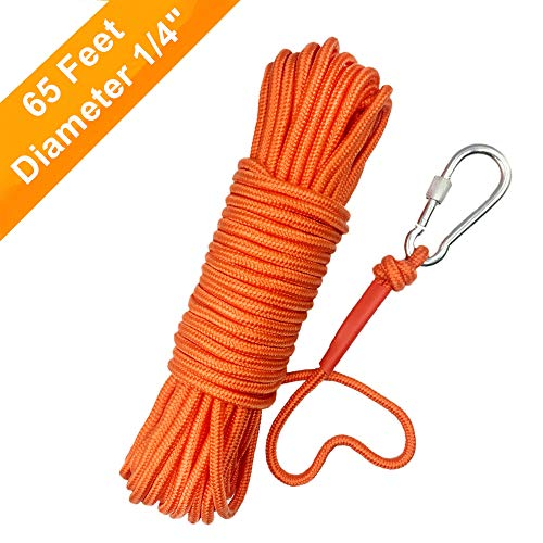 """UTOMAG Magnet Fishing Nylon Rope with Carabiner, 65 Feet All Purpose High Strength Cord Safety Braid Rope – Good for Magnet Fishing – Diameter 6mm / 8mm – Approximately 1/4"""" / 1/3"""" (Orange - 8mm)"""