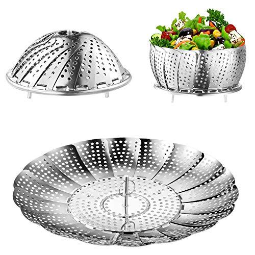 Steamer Basket, Kmeivol Vegetable Steamer, Stainless Steel Steamer Food, Value Steamer Baskets for Cooking, Instant Pot Steamer Basket, Expandable to Fit Various Size Pot (6' to 8.7')