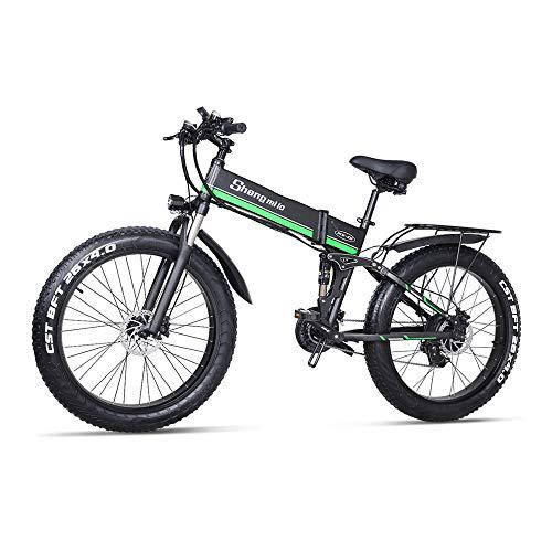 """Shengmilo Bicicleta Eléctrica E-MTB Fat Bike 26"""" Full Suspension, Shimano 21 velocidades,Plegable, batería Litio 48V 12.8Ah (1000w),Pantalla LCD,Freno de Doble Disco"""