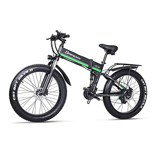 Shengmilo Bicicleta Eléctrica E-MTB Fat Bike 26' Full Suspension, Shimano 21 velocidades,Plegable, batería Litio 48V 12.8Ah (1000w),Pantalla LCD,Freno de Doble Disco