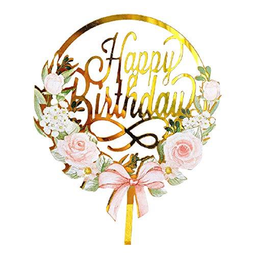 Wendao Decoración de pastel de acrílico de oro con diseño de flores para decoración de pastel de feliz cumpleaños para niños y adultos