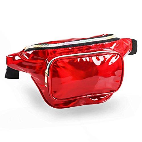 MUM'S MEMORY Holographic Fanny Packs for Women - Outdoor Sport Waist Pack for Running, Hiking, Traveling for Men - YSPORTFPRD104, Rojo
