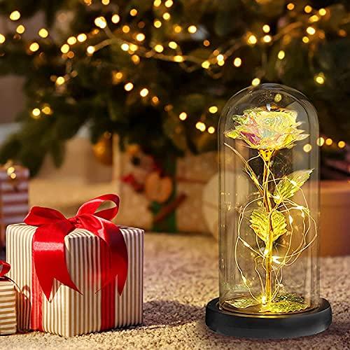 Rose im Glas, Künstliche Blume Ewige Rose im Glas, Ewige Rosen für Immer Rosen LED-Licht in Glas Home Decorations, Romantische Geschenke für Mama, Oma, Frauen, Freundin, Valentinstag, Geburtstag