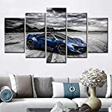 DGGDVP HD Canvas Picture Modular 5 Piece Set Luxury Blue Luxury Sports Car Painting Living Room Decoración del hogar Wall Art Poster Size 2 Sin Marco