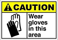 このエリアで手袋を着用してください注意壁の金属のポスターレトロなプラークの警告ブリキのサインヴィンテージ鉄の絵画の装飾オフィスの寝室のリビングルームクラブのための面白いハンギングクラフト