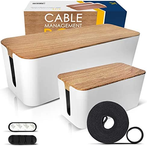 2 Pack Cable Management Box Large Small Wooden Style Cord Organizer Box and Cover for TV Wires product image