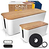 2 Pack Cable Management Box – Large & Small Wooden Style Cord Organizer Box and Cover for TV Wires, Computer, Router, USB Hub and Under Desk Power Strip – Safe ABS Material and Baby-Pets Proof Lock