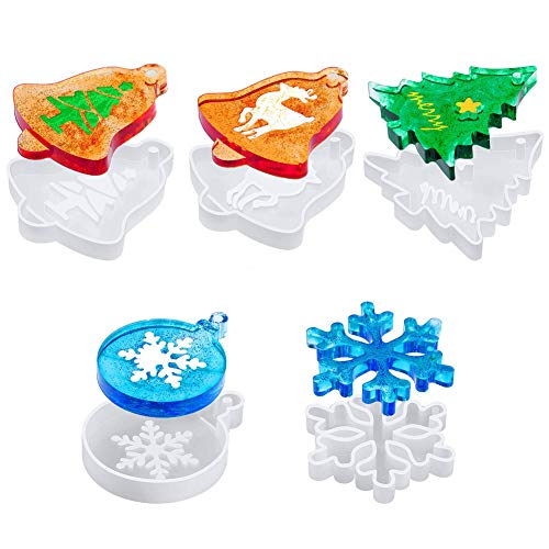 Christmas Silicone Moulds for Resin Casting, 5 Pcs Crystal Epoxy Mold for Xmas Tree Ornament Hanging Decor, Xmas Tree Snowflake Elk Bell