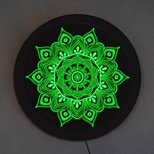 Lámpara de noche con diseño de mandala y flor LED, iluminación compleja, signo de expansión, medallón relajante, arte floral, estudio de yoga LED luminoso redondo